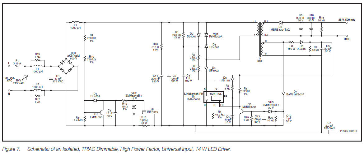 dali led driver wiring diagram winch for atv triac dimmable 14 w circuit