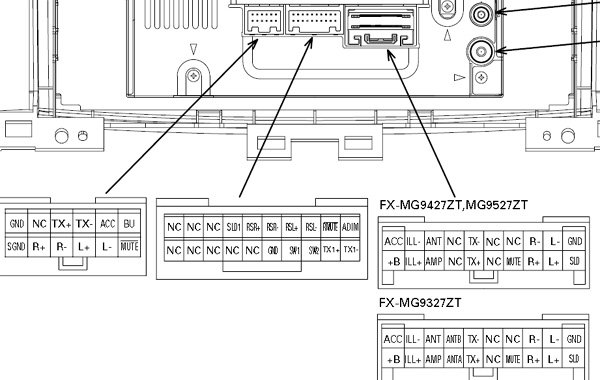 Toyota FX MG9327 FX MG9427ZT FX MG9527MT car stereo wiring diagram connector harness pinout wiring diagram for a 1999 toyota camry yhgfdmuor net 1999 toyota camry stereo wiring diagram at aneh.co
