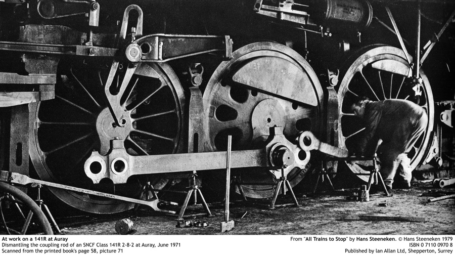 """At work on a 141R at Auray. Dismantling the coupling rod of an SNCF Class 141R 2-8-2 at Auray, June 1971. Scanned from the printed book's page 58, picture 71. From """"All Trains to Stop"""" by Hans Steeneken. © Hans Steeneken 1979. ISBN 0 7110 0970 8. Published by lan Allan Ltd, Shepperton, Surrey (PRESS FOR HIGHER RESOLUTION)"""