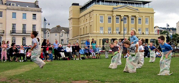Teignmouth Regatta Sack Race - the leader well ahead of the pack