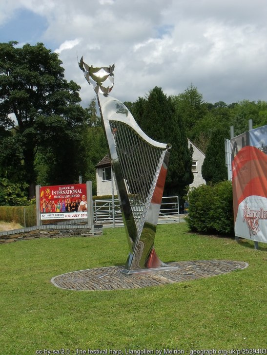The festival harp, Llangollen This 14ft tall stainless steel harp is located at the entrance to the International Eisteddfod site in Llangollen.