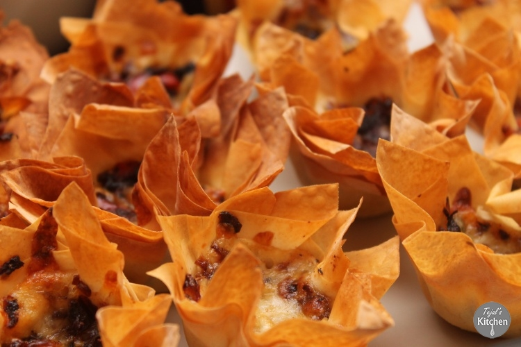 Roasted Pepper, Onion, Cheese Filo Baskets