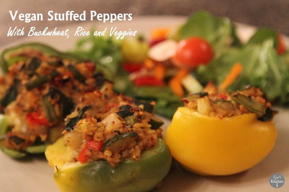 Vegan Stuffed Peppers with Buckwheat, Rice and Veggies