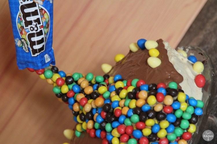 Anti-Gravity M&M Peanut Butter Chocolate Cake