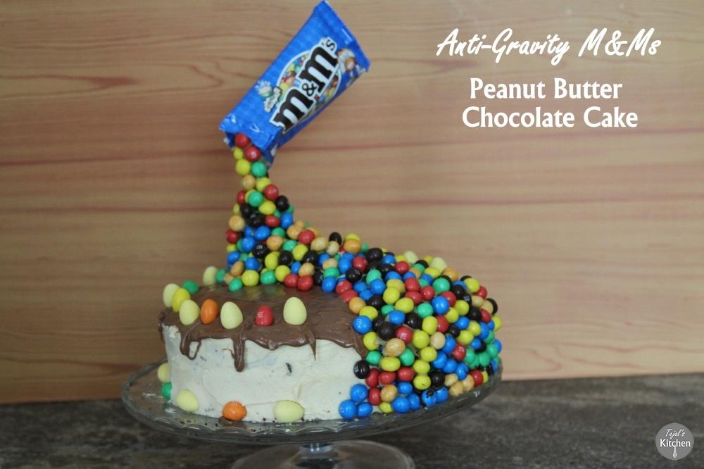 Anti-Gravity M&Ms Peanut Butter Chocolate Cake