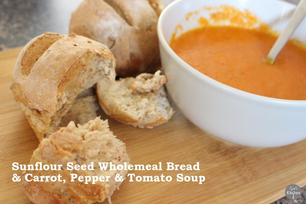 Sunflower Seed Wholemeal Bread & Carrot Pepper Tomato Soup