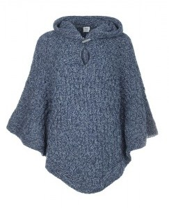 Poncho grey blue front