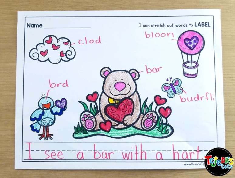 Valentine's Day labeling for emergent writers! Read this blog post for free tips, ideas, and station activities for kindergarten and first grade! Includes CVC word work, math, writing and more. #tejedastots #valentinesdayactivities #valentinesdayfreebies
