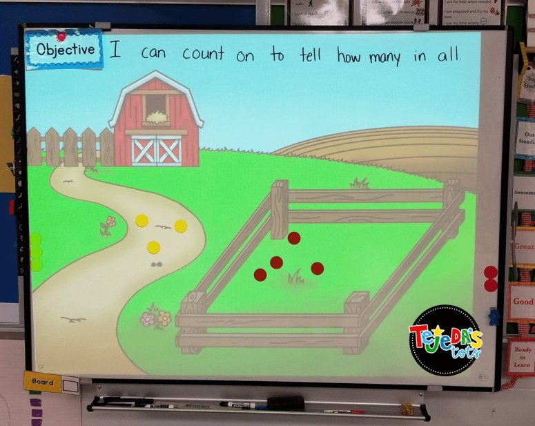 PowerPoint slide to practice addition with a farm theme. #tejedastots