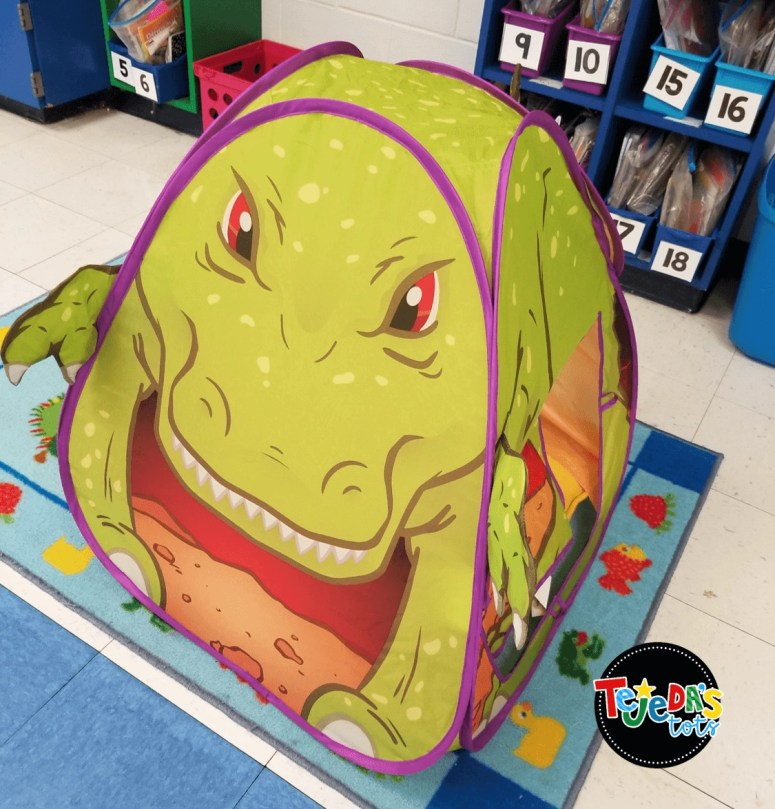 What's more motivating to read than a T-Rex dinosaur tent? Kids loved reading in here during our dinosaur unit. Read this blog post for more ideas on incorporating a dinosaur unit across all content areas.