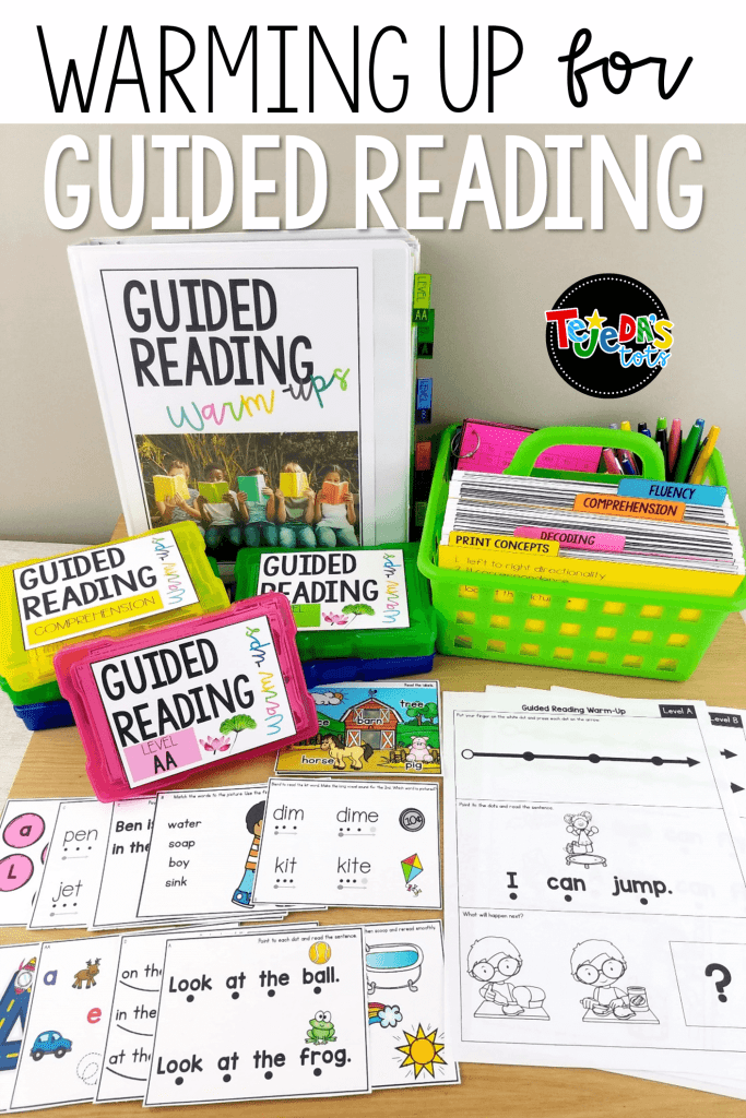 This Guided Reading Toolkit for levels AA-D is the perfect resource to warm up for your small group lessons in kindergarten and first grade! It includes 1-page warm-ups, 250 task cards, and teacher tent cards to use before or during guided reading or strategy groups. It comes with covers, labels, and tabs to help you stay organized! #tejedastots #guidedreading