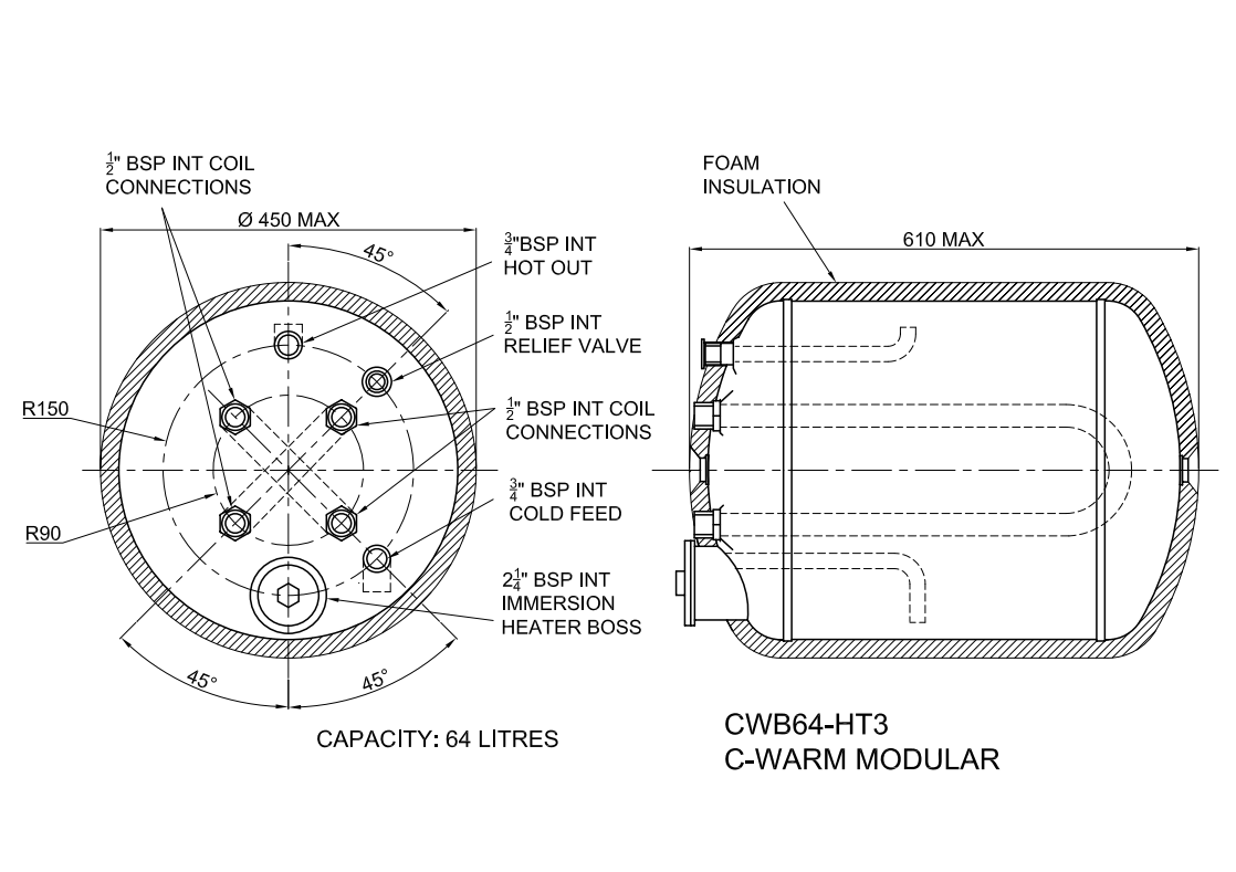 C Warm Water Storage Heater 64 Litres