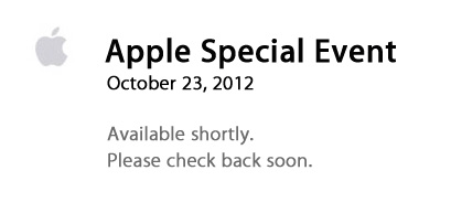Apple - Apple Events - Apple Special Event October 2012 starting soon
