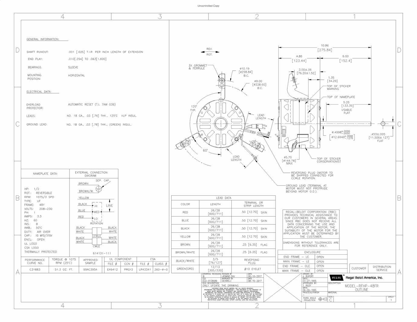 F48J28A38, AO Smith(now Century), 1/2HP, 208-230V