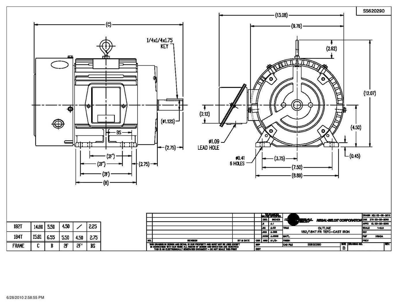 T46030, AO Smith, 5HP, 208-230/460V, 3 Phase Motor
