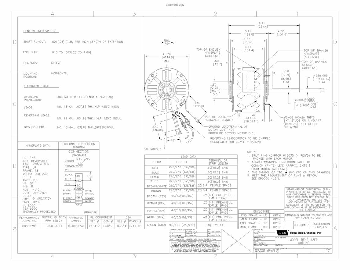 AO Smith, F48H15A01, Electric Motor