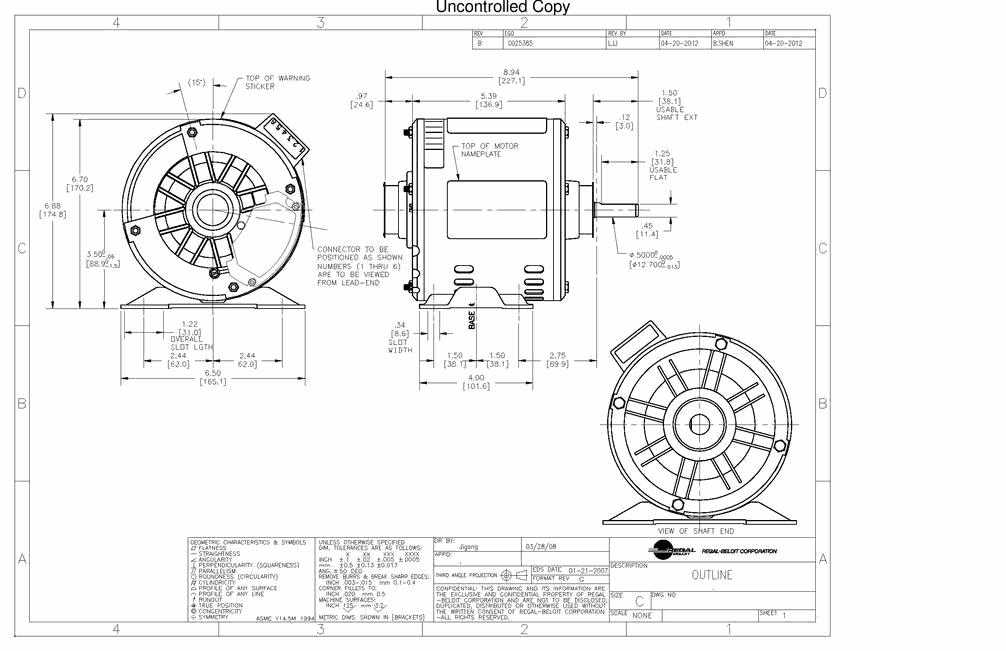 S56C23A01, AO Smith (now Century), 1/2HP, 115V, OEM Split