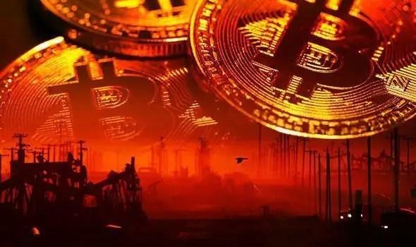 Entorno industrial en color rojo con monedas de Bitcoin.