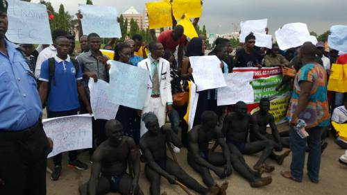 Abuja Natives Youths Add To The Marginalization Fever In Nigeria, Protest Half-Naked