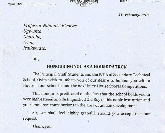 My Alma Mater Honors Me, Renames an Inter-House after Me