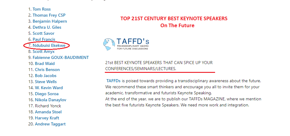 "Ndubuisi Ekekwe Makes TAFFDs' Top 20 Keynote Speakers on ""transdisciplinary awareness about the future"""