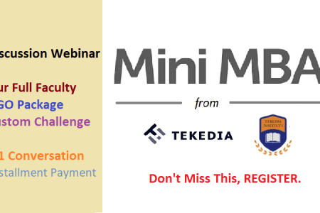 Tekedia Mini-MBA: Full Faculty, Weekly Format, NGO Package, Installment Payment,  Custom Assignment