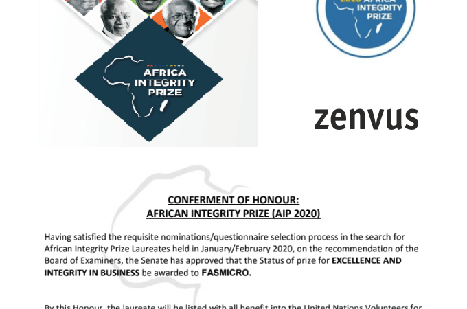 FASMICRO Receives Africa Integrity Prize, Supported by the United Nations.