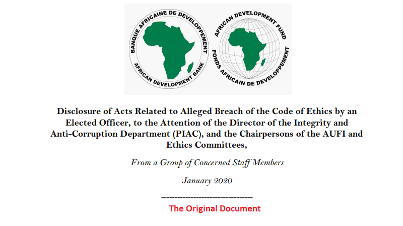 African Development Bank Allegations: The Original Whistleblowing Raw Document [PDF]