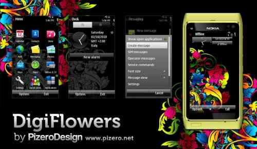 digiflowersbig - Tema: DigiFlowers by Pizero para celulares Nokia (Symbian)