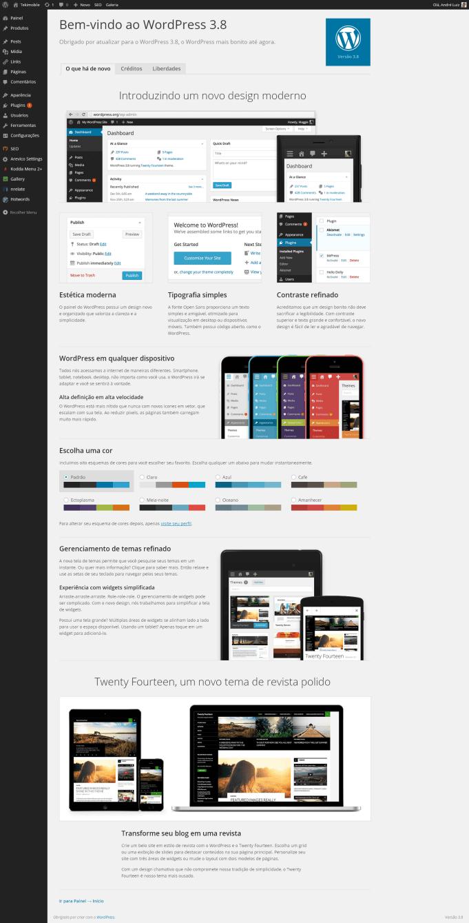 Interface administrativa do novo Wordpress no PC