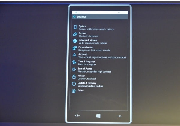 windows-10-for-smartphones menu de configucacoes