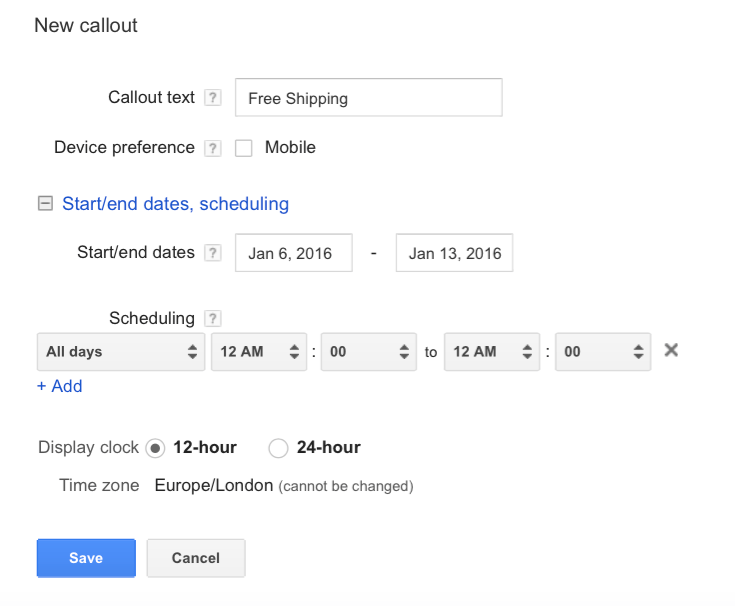 Callout AdWords Extension Guide - 4 Optional Scheduling