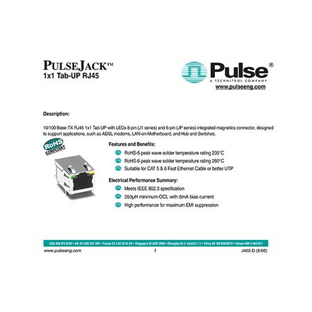 J1011F01PNL Pulse 10/100 Base-TX RJ45 8-pin Integrated