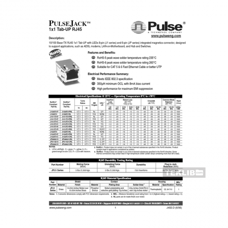 J1026F21C Pulse 10/100 Base-TX RJ45 8-pin Integrated