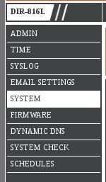 DLINK Router left menu bar