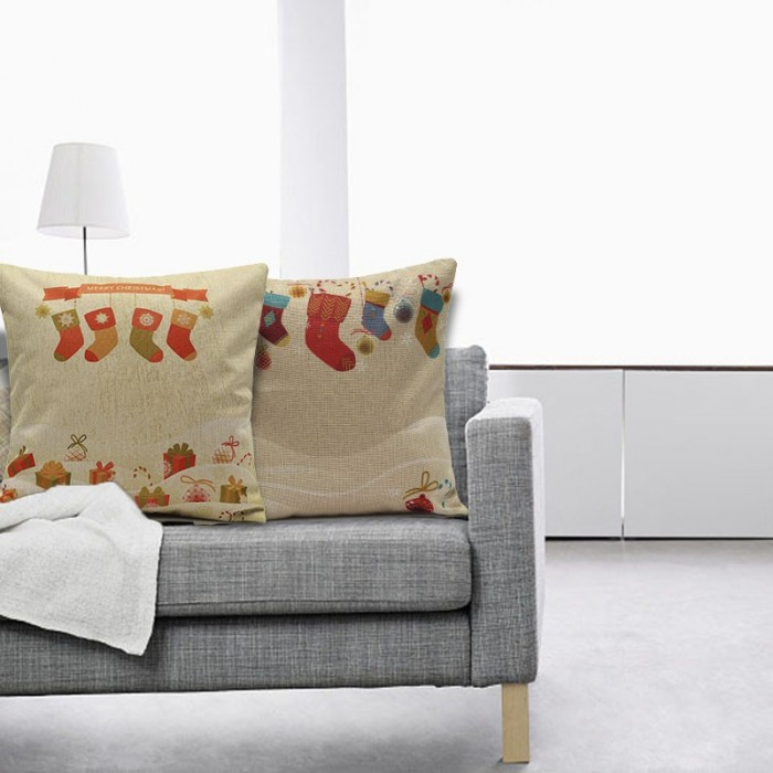 sofa box cushion covers sand table christmas socks throw pillow cases home square cover