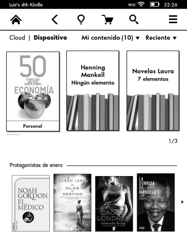 Interfaz Kindle Paperwhite