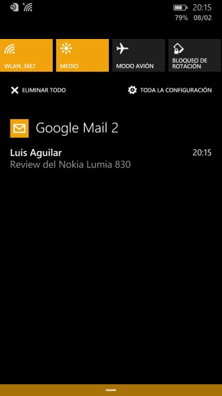 Nokia Lumia 830 - Panel de notificaciones