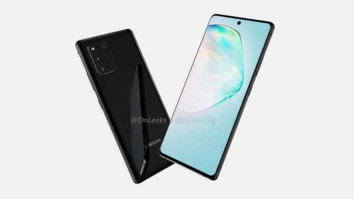 Galaxy A91 render görseli ekran ve kasa görüntüsü