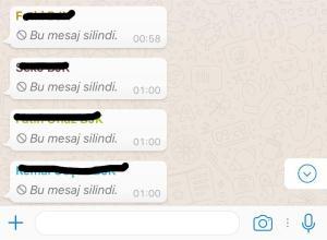 WhatsApp bu mesaj silindi