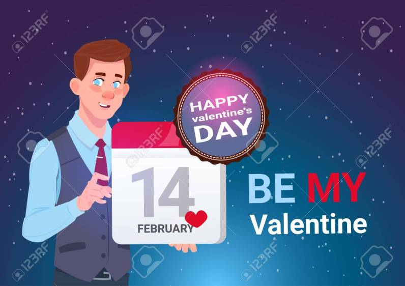 Valentines Day Concept Banner Cute Man Holding Calendar Page 14 February Holiday Flat Vector Illustration