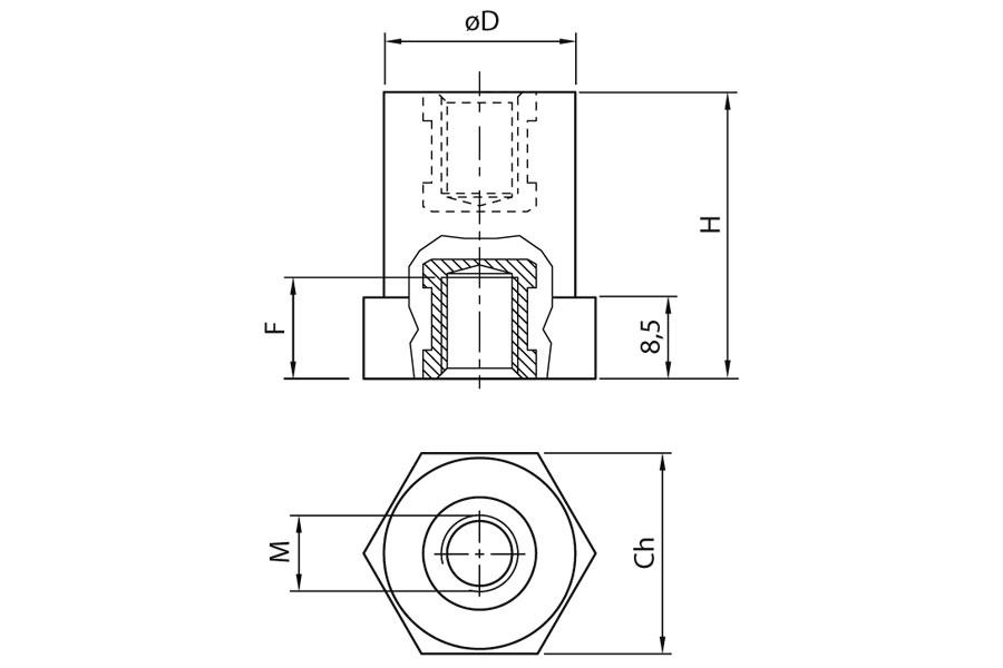 Spacing columns in polyamide Ω ISO