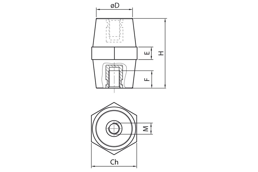 Insulators in polyamide Ω ISO