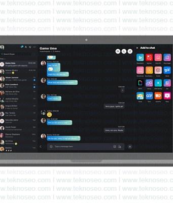 skype,karanlık mod,dark mode