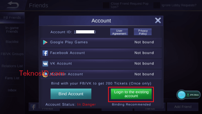Login to the exsiting account- Mobile Legends