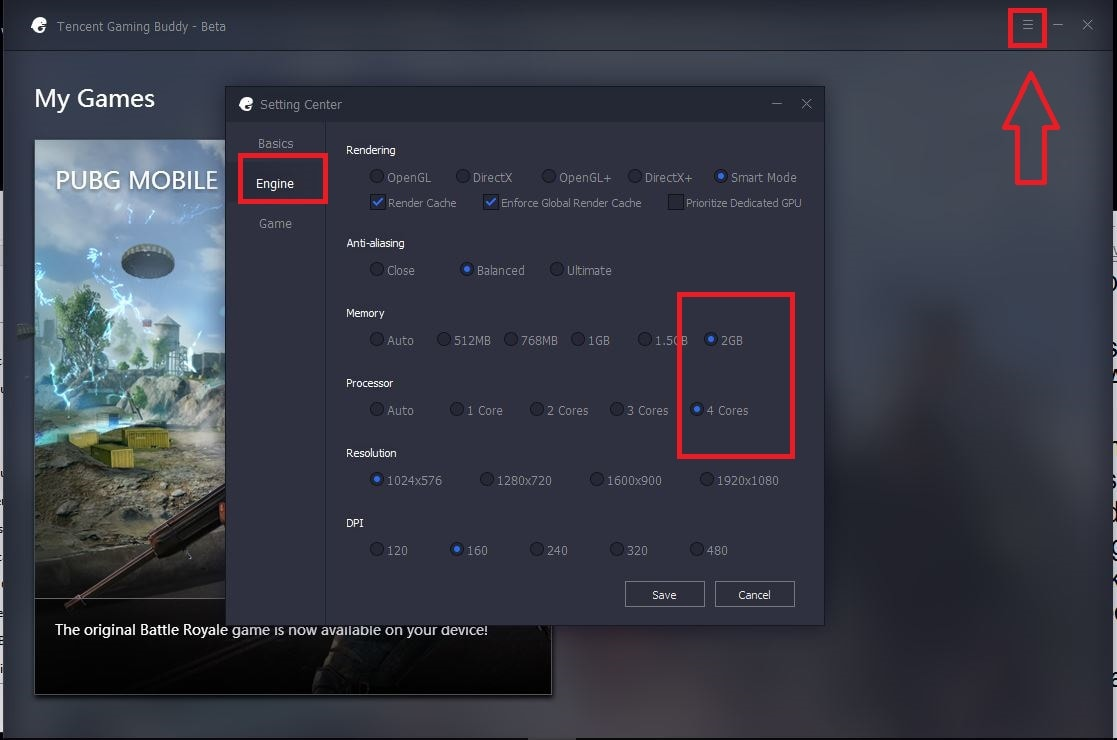 Cara Setting 60 FPS PUBG Mobile di emulator Tencent Gaming
