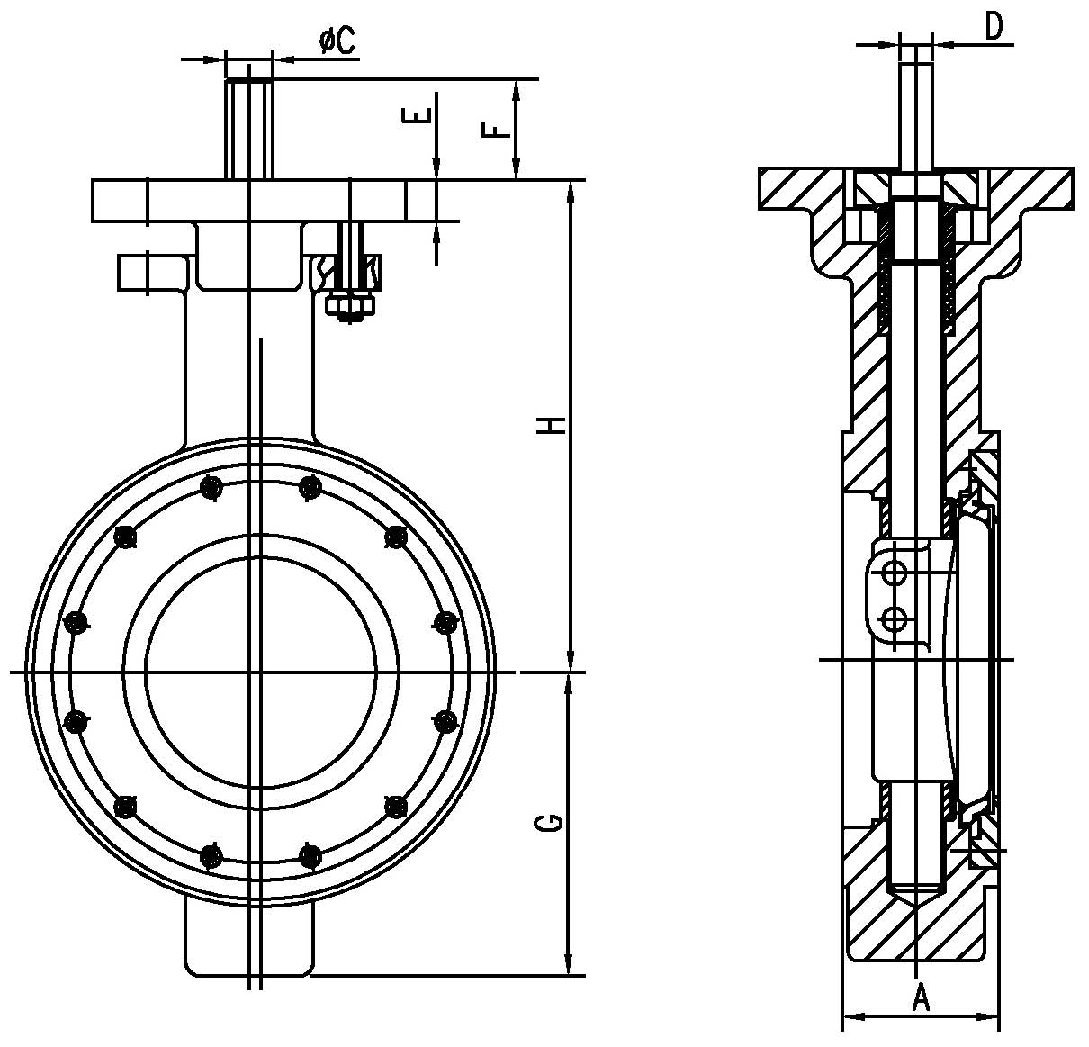 Wafer End Connection Double Eccentric Butterfly Valve With