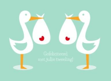 Geboortekaart tweeling