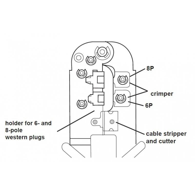 Crimptang RJ45 netværkskabler (modulartang),kraftig