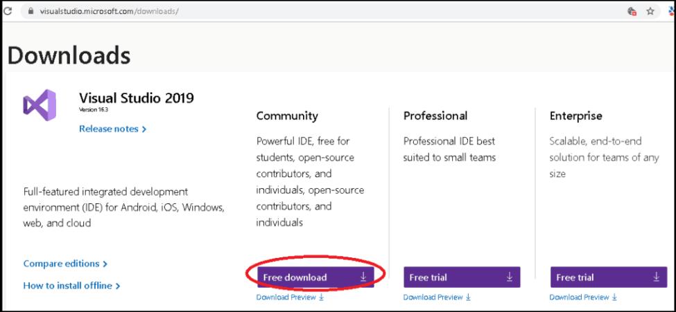 Visual Studio 2019'u indirin